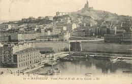 MARSEILLE - Vieux Port Et Notre Dame De La Garde, Cachet Service Postal Dépôt Des Isolés Méts,plage De Marseille. - Old Port, Saint Victor, Le Panier