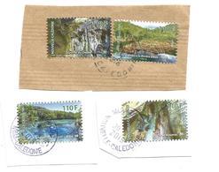 4 Timbres Du Carnet Grottes    Beaux Cachets Sur Fragments (clascamer14) - Neukaledonien