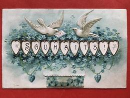 1908 - CARTE SYSTEME - GAUFREE - RELIEF - SOUHAITS - BONNE ANNEE - Nouvel An