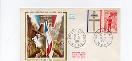 FDC France -  Charles De Gaulle , 1890-1970 - YT 779 - Lille Nord - 9/11/1971 - FDC