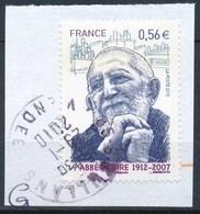 France - Abbé Pierre YT 4435 Obl. Cachet Rond Sur Fragment - Oblitérés
