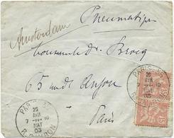 LETTRE 1903 AVEC 2 TIMBRES AU TYPE MOUCHON ET CACHET PNEUMATIQUE PARIS 35 R. CAMBON - Handstempel