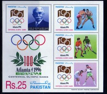 Pakistan 1996 JO Atlanta  Coubertin  Sport  Jeux Olympiques 25 Rs    N° BL 10  MNH  Neuf  Bloc 4 - Pakistan