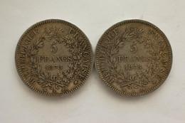 2 Pièces De  5 Francs 1875 A  Argent Avec Lettre A Différente ! - France