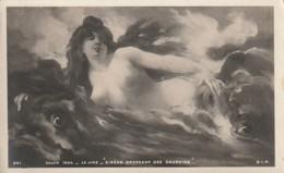 ***  PEINTURE  *** SALON De 1904   LA LYRE Sirene Dressant Des Dauphins - Précurseur Neuf TTBE - Peintures & Tableaux
