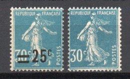 - FRANCE Variété N° 217l Neuf ** - 25 C. S. 30 C. Bleu Semeuse Camée - SURCHARGE A SEC - Cote 185 EUR - - Variétés: 1921-30 Neufs