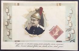CPA97 Militaire Et Timbre Semeuse «Toujours N' Est Pas Assez Pour...» EP 375 - Stamps (pictures)
