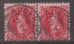 Switzerland 1907 Stehende Helvetia 1fr (pair) Perf. 11,5x11 Used Ca 27 V 06 (42729) - Zwitserland