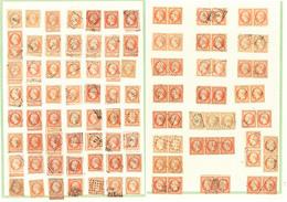 Collection. No 16, 85 Unités, 21 Paires Et 2 Bandes De Trois, Nuances Et Obl Diverses. - TB Ou B - 1853-1860 Napoléon III