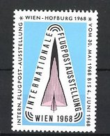 Reklamemarke Wien, Int. Flugpost-Ausstellung 1968, Flugzeug - Vignetten (Erinnophilie)