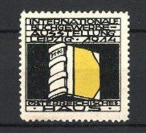Künstler-Reklamemarke H. Kathrein, Leipzig Int. Buchgewerbe Ausstellung 1914, Buch Mit Initialien - Vignetten (Erinnophilie)