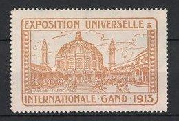 Reklamemarke Gand - Gent, Exposition Universelle Et Internationale 1913, Allee Principale, Ausstellungsgebäude, Gelb - Vignetten (Erinnophilie)