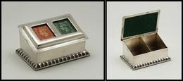 Superbe Boîte Anglaise En Argent, Style écritoire Avec Couvercle à Fenêtre, 2 Comp., 65x45x30mm, Poids 122g. - TB - Boites A Timbres