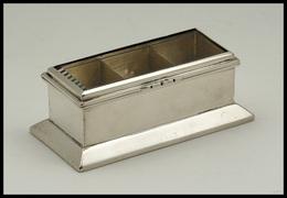 Boîte En Argent, Couvercle à Fenêtre, Verre Biseauté, Poinçons, 3 Comp., 82x41x30mm. - TB - Boites A Timbres