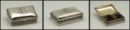 Boîte En Argent à Fin Décor Ajouré Sur Le Pourtour, Monogramme Et Poinçons, 2 Comp., 55x35x15mm. - TB - Boites A Timbres