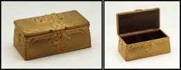 """Boîte En Bronze Doré à L'or Fin, Signée """"Guenardeau, Fondeur Susse Et Cie"""", Intérieur Palissandre, 3 Comp., 104x52x40mm. - Boites A Timbres"""