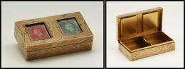 Boîte Anglaise En Bronze Doré, Couvercle à Fenêtre, 2 Comp., 74x42x18mm. - TB - Boites A Timbres