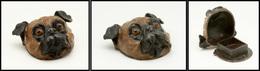 """Boîte En Bronze De Vienne En Forme De Tête De Chien """"Bouledogue"""", 1 Comp., 52x60x30mm. - TB - Boites A Timbres"""