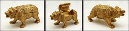 """Superbe """"Ours"""" En Bronze Doré, 1 Comp. Timbre Sur Le Dessus, Poids 483g, 130x50x65mm. - TB - Boites A Timbres"""
