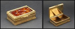 Boîte En Bronze Doré Et écaille Sur Le Dessus, Fin Décor Sur L'ensemble De La Boîte, 2 Comp., 70x50x25 Mm. - TB - Boites A Timbres