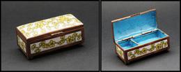 Boîte En émail, Cerclage Cuivre, à Décor De Fleurs Jaunes, 2 Comp., 80x35x35mm. - TB - Boites A Timbres