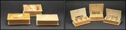 Trois Boîtes Ivoirine, Rectangulaires, Décors Oiseaux Ou Pêche, Marquées Dieppe Ou Cabourg. - TB - Stamp Boxes
