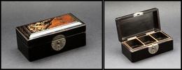 """Boîte En Bois Laqué Noir , Décor """"Oiseaux Et Fleurs"""" Sur Couvercle, 3 Comp., 100x50x40mm. - TB - Stamp Boxes"""