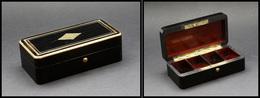 Boîte Napoléon III En ébène, Cerclage Et Bouton Pression En Laiton, Intérieur Acajou, 4 Comp., 110x53x35 Mm. - TB - Boites A Timbres