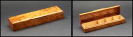 Boîte En Loupe De Thuya, 4 Comp. Dont Un Pour Plumes, 140x35x20mm. - TB - Boites A Timbres