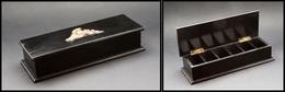 """Boîte En ébène Avec Décor """"Casque Et épée"""" En Bronze Doré, 6 Comp., 190x65x40mm. - TB - Boites A Timbres"""