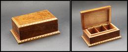 Boîte En Loupe De Thuya à Décor De Marqueterie, 3 Comp., 120x75x45mm. - TB - Stamp Boxes