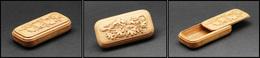 Boîte En Chêne Avec Feuilles De Chêne Sculptées En Décor, Ouverture à Glissière, 1 Comp., 70x35x15mm. - TB - Stamp Boxes