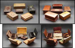 12 Boîtes En Bois Verni, Tailles, Décors Et Formats Divers. - TB - Stamp Boxes