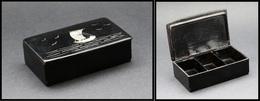 """Boîte Papier Mâché, Décor """"Jonque"""" En Nacre, 3 Comp., 90x55x25mm. - TB - Stamp Boxes"""