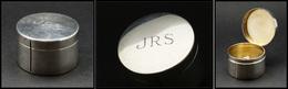 """Distributeur De Roulettes. Modèle """"Tiffany & Co"""" En Argent, Monogrammé """"JRS"""", Diam.48mm X H.30mm, Superbe - Stamp Boxes"""