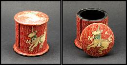 Distributeur De Roulettes. Modèle En Papier Mâché, Peint Main,à Décor De Licorne, Diam.55, H.50mm. - TB - Stamp Boxes