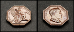 """Médaille De La Poste Pour Les Courriers à Cheval, Marquée """"Messageries Impériales 1809"""" Et Napoléon Empereur Sur L'autre - Boites A Timbres"""