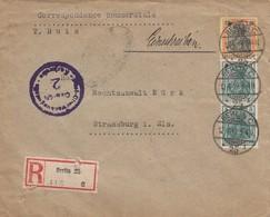 Env Reco Affr Michel 85 X 2 + 88 Obl BERLIN C Du 12.4.19 Adressée à Strasbourg Avec Censure - Lettres & Documents