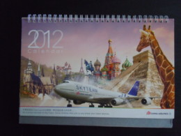 Kalender Calendrier Calendar 2012 China Airlines Form. 24,5 X 18 Cm - Calendriers