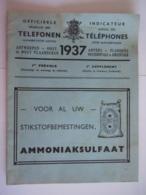 België Belgique Telefoonboek Annuaire Téléphonique 1937 Antwerpen Oost-West-Vlaanderen 1ste Vervolg Supplément - Vieux Papiers