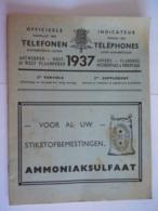 België Belgique Telefoonboek Annuaire Téléphonique 1937 Antwerpen Oost-West-Vlaanderen 2de Vervolg Supplément - Old Paper