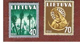 LITUANIA (LITHUANIA)   - SG 483.484   -        1990  NATIONAL SYMBOLS  -   USED - Lituanie