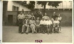 """3525 """"ISTITUTO ARTIGIANELLI VALDESI-VIA BERTHOLLET 34-TORINO-FOTO DI GRUPPO IN CORTILE-GIUGNO 1947"""" ORIGINALE - Persone Identificate"""