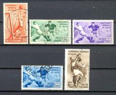 MA19 1934 Mondiali Di Calcio Posta Ordinaria Serie Completa 5 Valori - Sassone Nn. 357/361 Usati / Used - Oblitérés