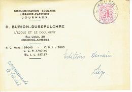 CP Publicitaire HODENG-AIMERIES 1959 - R. BURION-DUSEPULCHRE - Librairie - Papeterie - Boussu