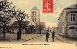 77. N°56390.saacy Sur Marne.l'église Et La Mairie.carte Toilé - Autres Communes