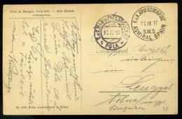 K.u.K. Haditengerészet, I.VH 1917. Pola Képeslap, S.M.S. Admiral Spaun Hajó Bélyegzéssel   /  NAVY WW I 1917 Vintage Pic - Hungary