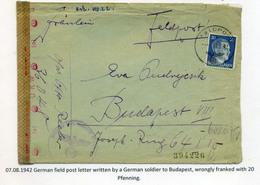 II. VH 1942. Németország.Tábori Posta Levél Budapestre Küldve  /  WW II. 1942 Germany FPO Letter To Budapest - Hongrie