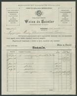 POZSONY 1911. Weisz és Heimler Fehérnemű Gyár, Fejléces Számla - Vieux Papiers