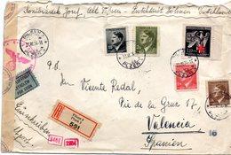Carta Circulada Con Censura Militar Valencia Del Cid Y Censura Alemana. - Checoslovaquia